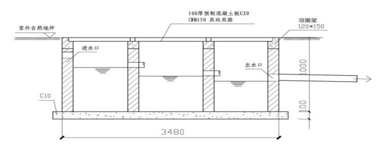[广东]高层住宅楼工程文明施工方案(2016)-02 沉淀处理池剖面图