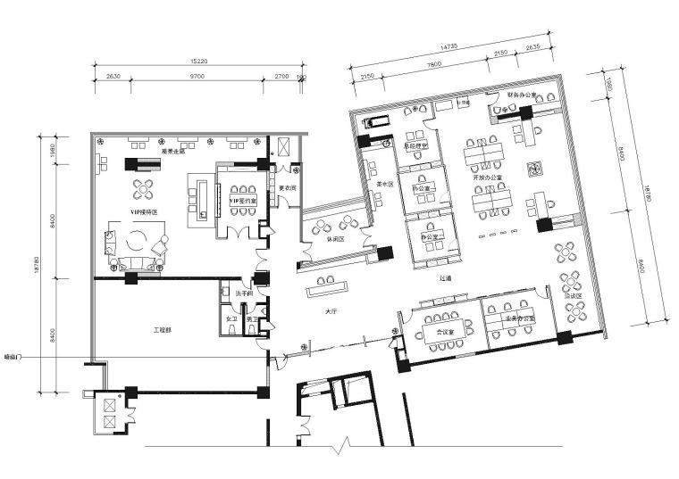 [杭州]281㎡现代装饰公司办公空间施工图