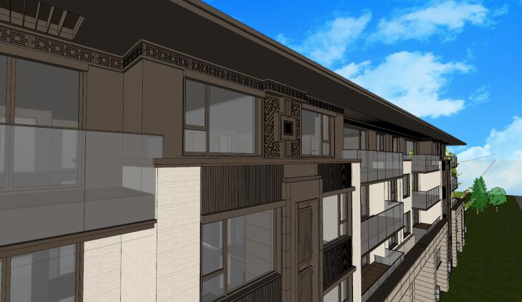 [江苏]新中式叠拼+大平层建筑模型设计
