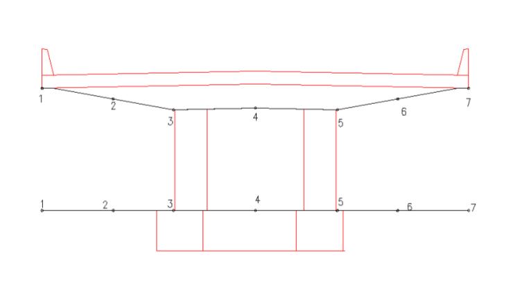 预压测点布设位置盖梁横断面图