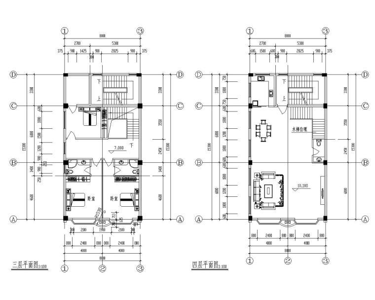 六层框架结构乡村住宅结构施工图(CAD)