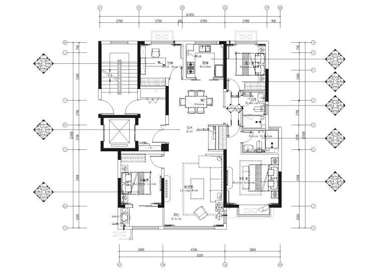 [济南]109㎡现代三居室精装样板间施工图