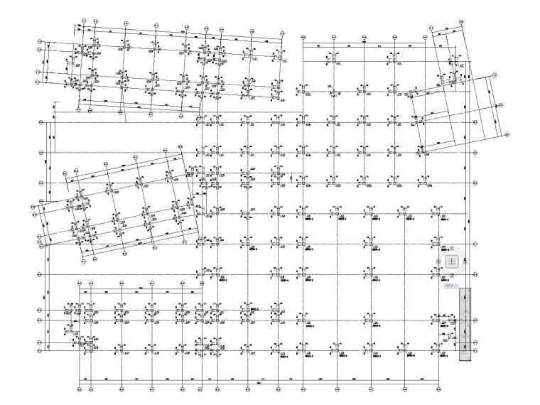 一、二层柱定位平面图及配筋图