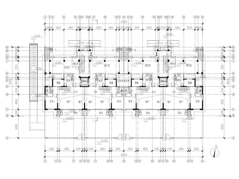 三面宽160㎡叠拼别墅户型图CAD(知名地产)
