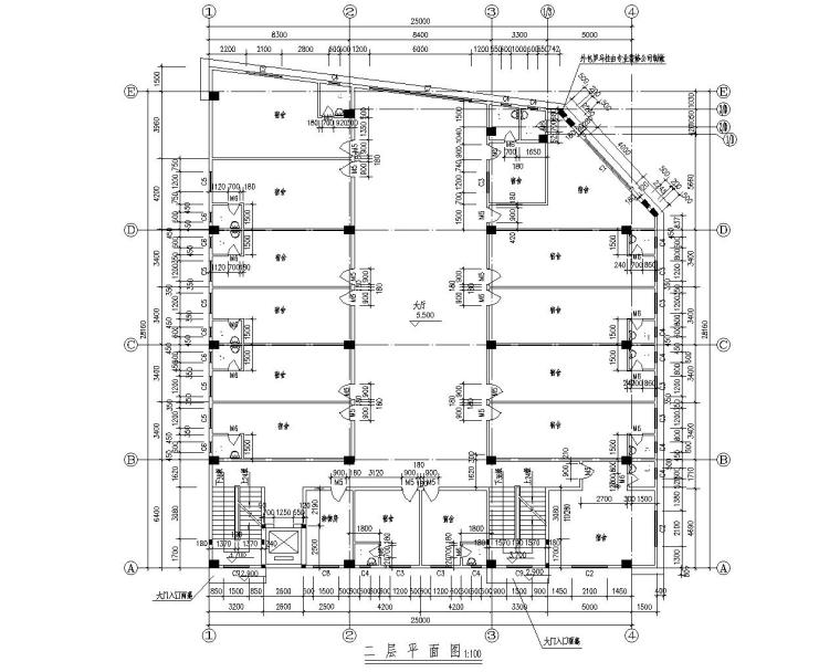 五层职工宿舍框架结构施工图(CAD含建筑)