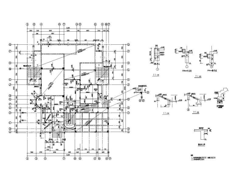三层高端小型别墅结构施工图(CAD)