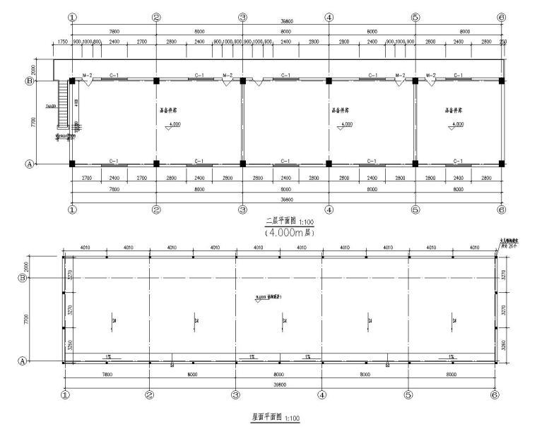 某二层混凝土结构仓库施工图(CAD)
