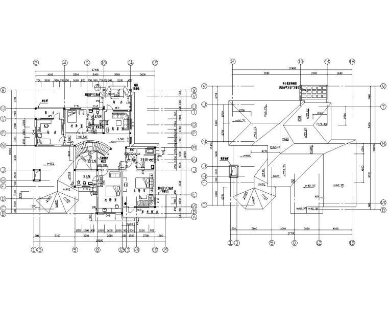 二层砖混结构别墅结构施工图(CAD含建筑)