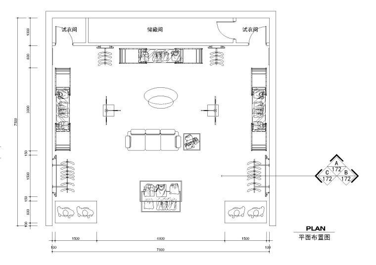 58平方服装专卖店设计施工图