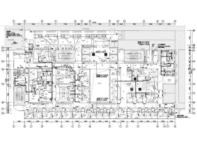 [一键下载]8套大型医院电气图纸合集-[福建]省立医院门诊楼电气施工图(强弱电)-3空调配电及地面蓄光疏散平面图