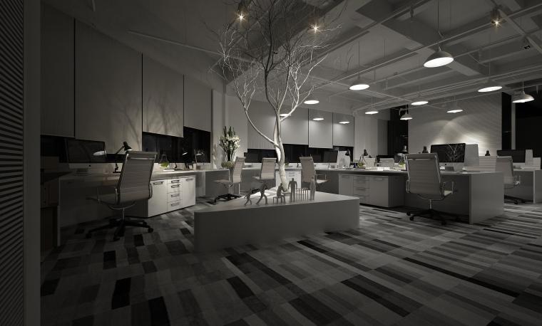 现代简约办公空间夜景3D模型+效果图