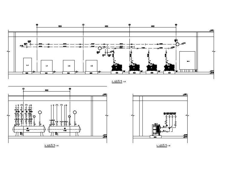 制冷机房、换热站设备管线剖面图