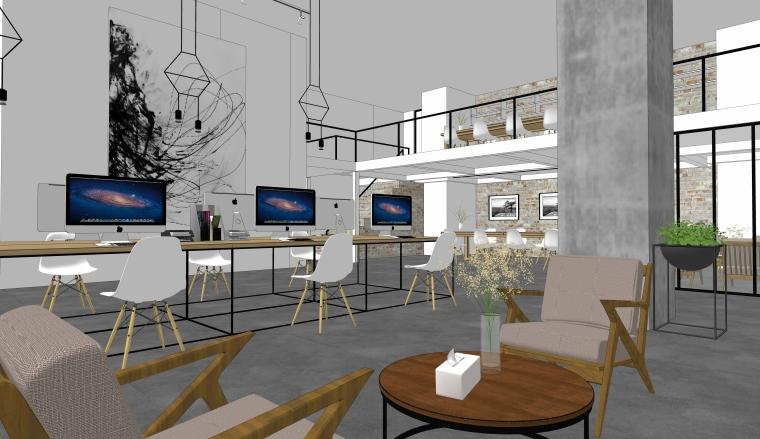 室内工装_现代简约办公室设计SU模型+效果图