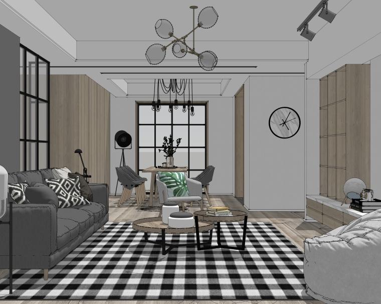 室内家装_北欧风客餐厅SU模型+效果图