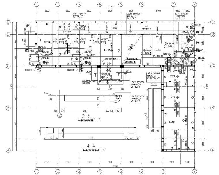 某二层砖混结构办公楼结构施工图(CAD)