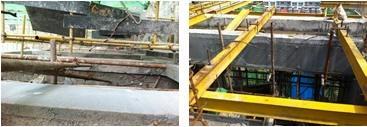 FS外模板梁高处的施工处理