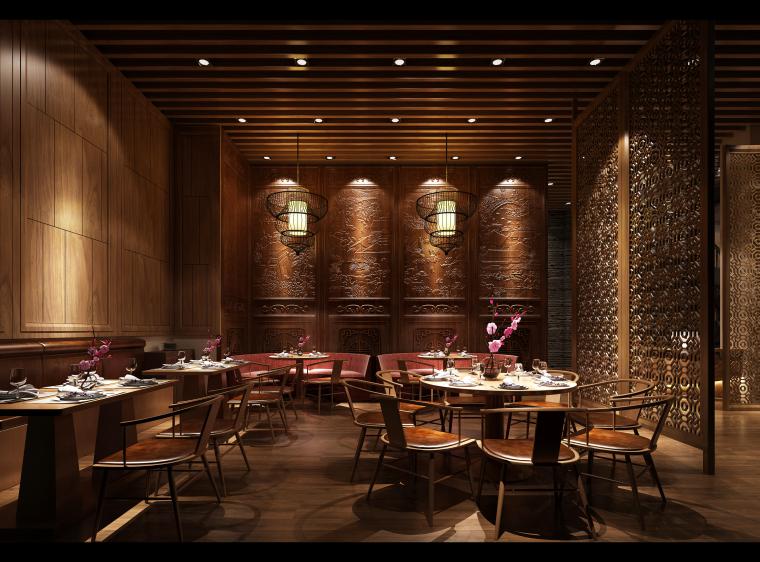中式餐饮空间装饰设计3D模型+效果图