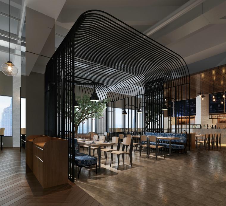 现代休闲餐厅装饰设计3D模型+效果图