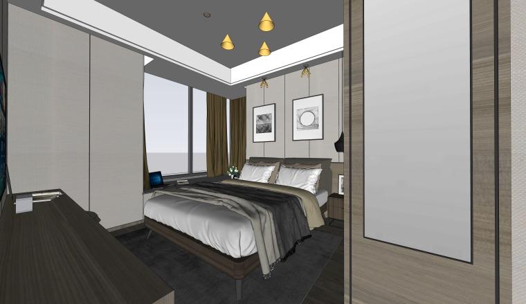 室内家装_现代简约卧室SU模型+效果图