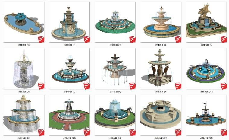 80套水钵水景SU模型设计