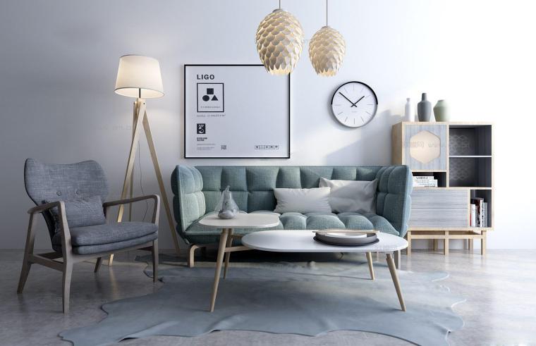 现代客厅家具组合3D模型+效果图