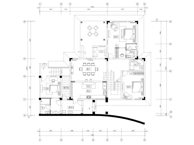 [郑州]五云山托斯卡纳风二层别墅样板房图纸