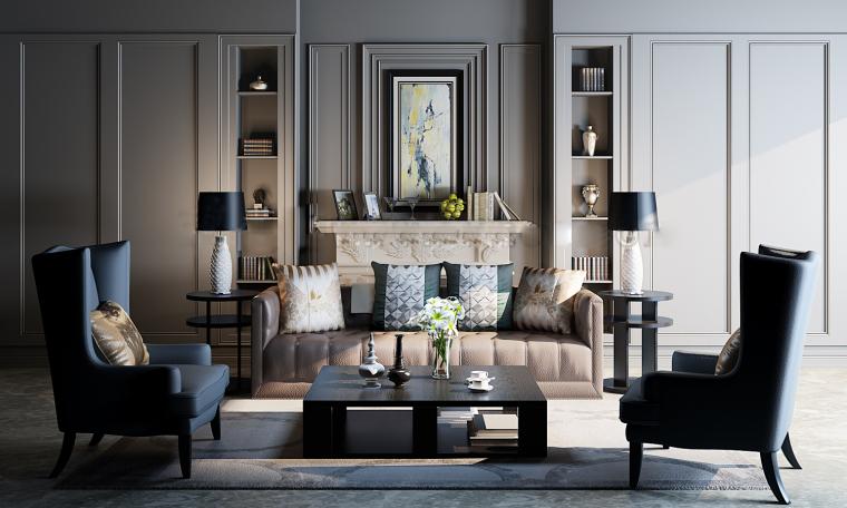 欧式客厅沙发组合3D模型+效果图