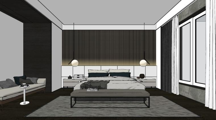 室内家装_现代卧室设计SU模型+效果图