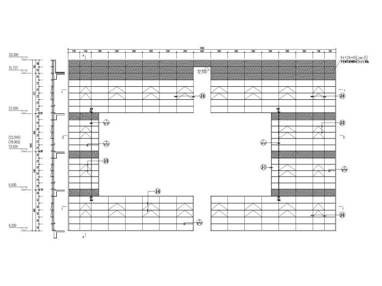 [江苏]七层图书馆玻璃幕墙结构施工图