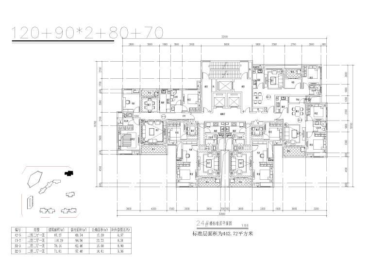 郑州超高层住宅户型平面设计(CAD)