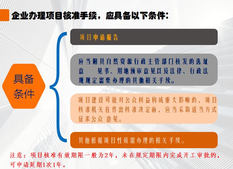 企业办理项目核准手续,应具备的条件