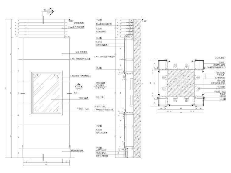 铝塑板灯箱片包方柱节点图