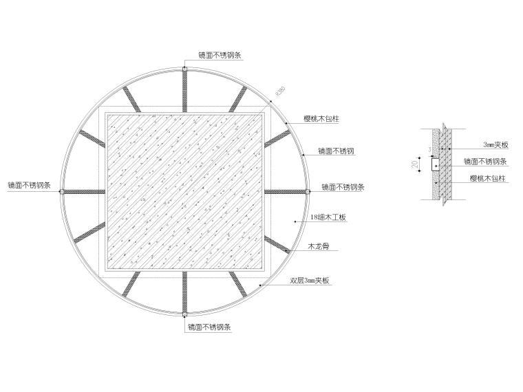 木饰面不锈钢圆柱节点图