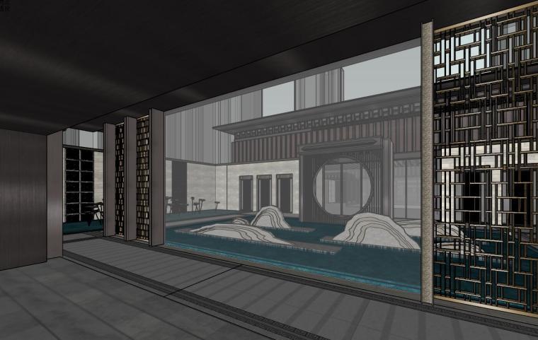 中式示范区住宅建筑模型设计 (2)