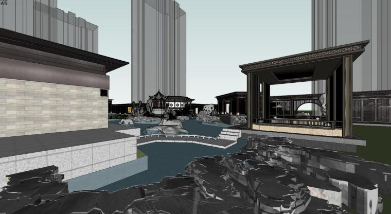 中式示范区住宅建筑模型设计 (4)