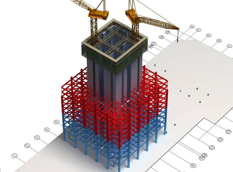 50层办公大厦各阶段BIM应用(含场布模型)
