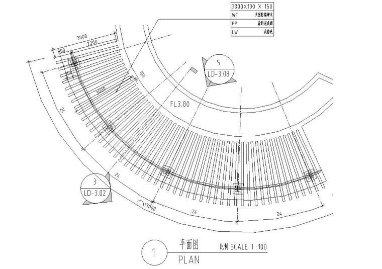 园林景观节点详图-木结构廊架详图设计 (1)