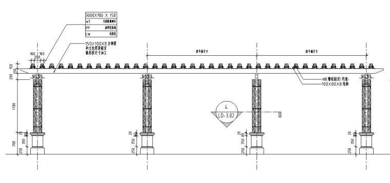 园林景观节点详图-木结构廊架详图设计 (2)