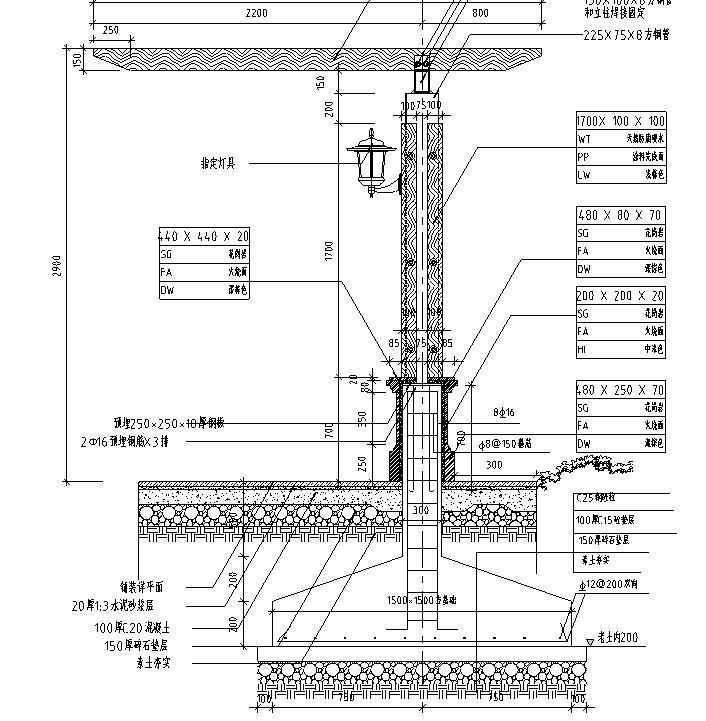 园林景观节点详图-木结构廊架详图设计 (3)