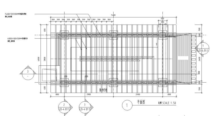园林景观节点详图-单臂廊架详图设计 (1)