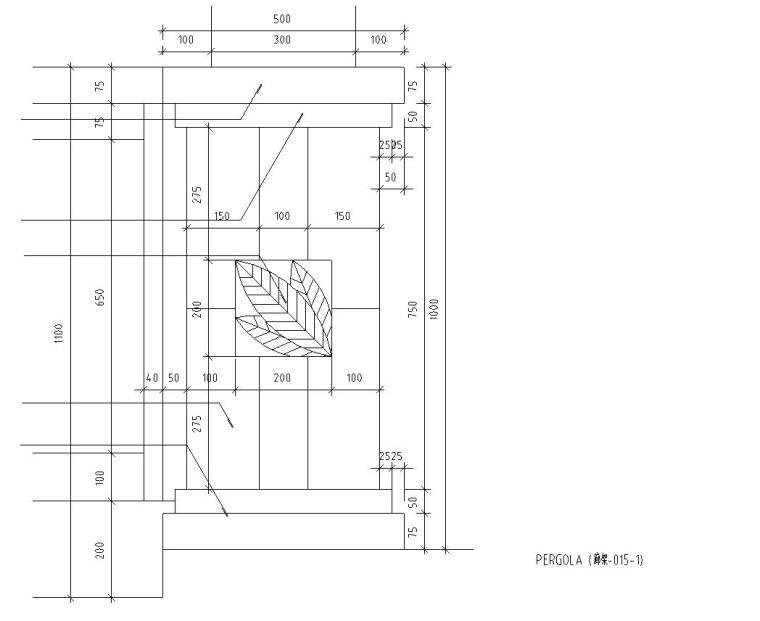 园林景观节点详图-单臂廊架详图设计 (3)