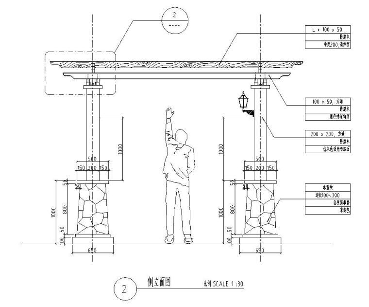 园林景观节点详图-方通木廊架详图设计 (1)