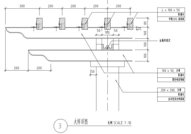园林景观节点详图-方通木廊架详图设计 (2)