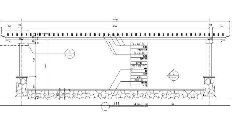 园林景观节点详图-方通木廊架详图设计 (4)
