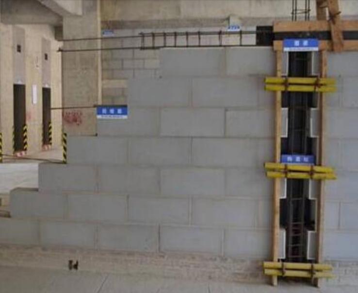 提高加气混凝土砌块填充墙的合格率-砌体墙构造柱加固方式