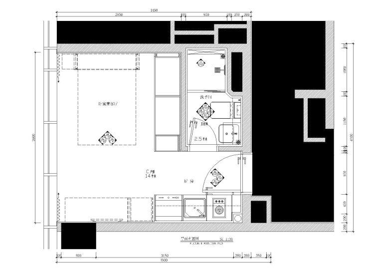 欧式风格一居室效果图资料下载-[珠海]25㎡一居室样板房施工图_附效果图