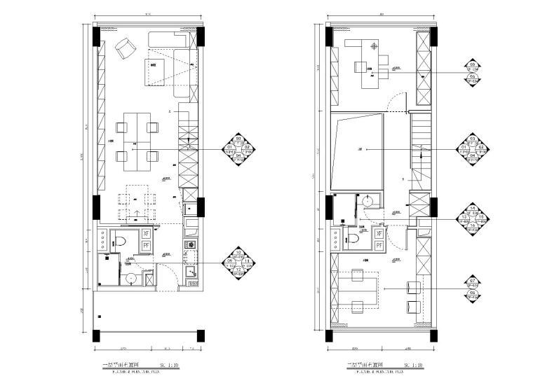 两层60㎡LOFT风格小户型户型样板房施工图