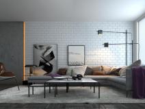 现代北欧转角沙发休闲椅组合3D模型+效果图