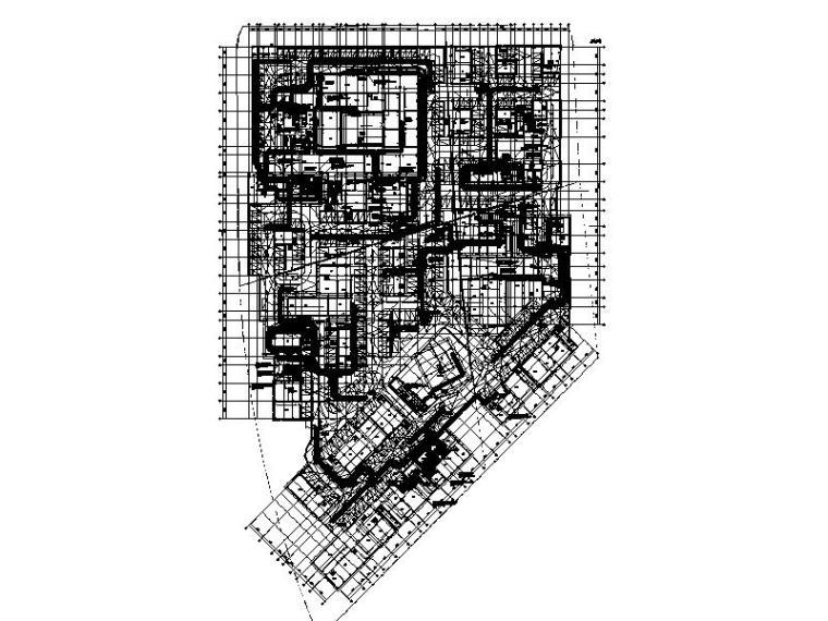 上海研发办公楼地下室通风及防排烟平面图