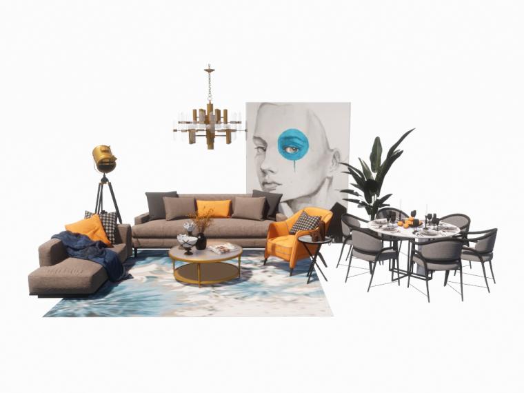 室内家装_现代沙发茶几组合SU模型+效果图